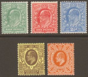 1911 Edward VII Harrison Perf 15 Stamp Set Of 5 Unmounted Mint